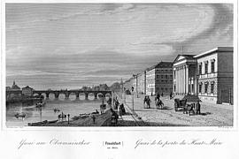 Im Hintergrund die Alte Brücke.  Stahlstich von Wilhelm Lang nach Vorlage von Jakob Fürchtegott Dielmann
